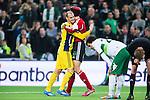 Stockholm 2014-03-04 Fotboll Svenska Cupen Hammarby IF - &Auml;ngelholms FF :  <br /> &Auml;ngelholms m&aring;lvakt Matt Pyzdrowski kramas om av &Auml;ngelholms Kamal Barny efter att ha r&auml;ddat en m&aring;lchans f&ouml;r Hammarby medan Hammarbys Lars Mendonca Fuhre deppar bredvid<br /> (Foto: Kenta J&ouml;nsson) Nyckelord:  HIF Bajen &Auml;ngelholm depp besviken besvikelse sorg ledsen deppig nedst&auml;md uppgiven sad disappointment disappointed dejected