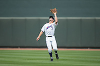 Winston-Salem Dash center fielder Adam Engel (7) catches a fly ball during the game against the Myrtle Beach Pelicans at BB&T Ballpark on May 10, 2015 in Winston-Salem, North Carolina.  The Pelicans defeated the Dash 4-3.  (Brian Westerholt/Four Seam Images)