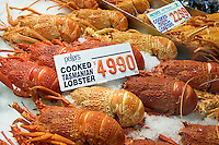 Cooked Tasmanian lobsters for sale at Sydney Fish Market, Darling Harbour, Australia