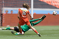 Houston, TX - Saturday May 27, 2017: Janine Beckie takes a shot at the goal during a regular season National Women's Soccer League (NWSL) match between the Houston Dash and the Seattle Reign FC at BBVA Compass Stadium.
