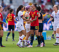 REIMS,  - JUNE 24: Christen Press #23 talks with Jennifer Hermoso #10 during a game between NT v Spain and  at Stade Auguste Delaune on June 24, 2019 in Reims, France.