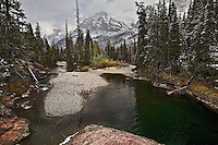 An autumn dusting of snow along the St. Mary River in  Glacier National Park