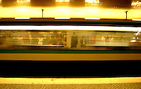 Train moving through the metro train stop of Reuilly Diderot, Paris, France