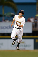 Bradenton Marauders third baseman Chris Diaz (5) running the bases during a game against the Jupiter Hammerheads on April 18, 2015 at McKechnie Field in Bradenton, Florida.  Bradenton defeated Jupiter 4-1.  (Mike Janes/Four Seam Images)