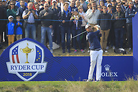 Webb Simpson (Team USA) on the 2nd tee during the Friday Foursomes at the Ryder Cup, Le Golf National, Ile-de-France, France. 28/09/2018.<br /> Picture Thos Caffrey / Golffile.ie<br /> <br /> All photo usage must carry mandatory copyright credit (© Golffile | Thos Caffrey)