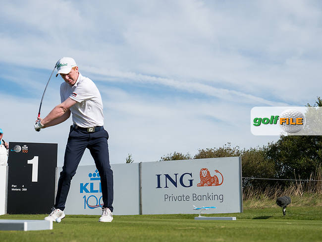Gavin Moynihan (IRL) in action on the 1st hole during the final round at the KLM Open, The International, Amsterdam, Badhoevedorp, Netherlands. 15/09/19.<br /> Picture Stefano Di Maria / Golffile.ie<br /> <br /> All photo usage must carry mandatory copyright credit (© Golffile | Stefano Di Maria)