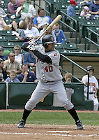 May 16, 2004:  Alex Delgado of the Indianapolis Indians, Triple-A International League affiliate of the Milwaukee Brewers, during a game at Frontier Field in Rochester, NY.  Photo by:  Mike Janes/Four Seam Images