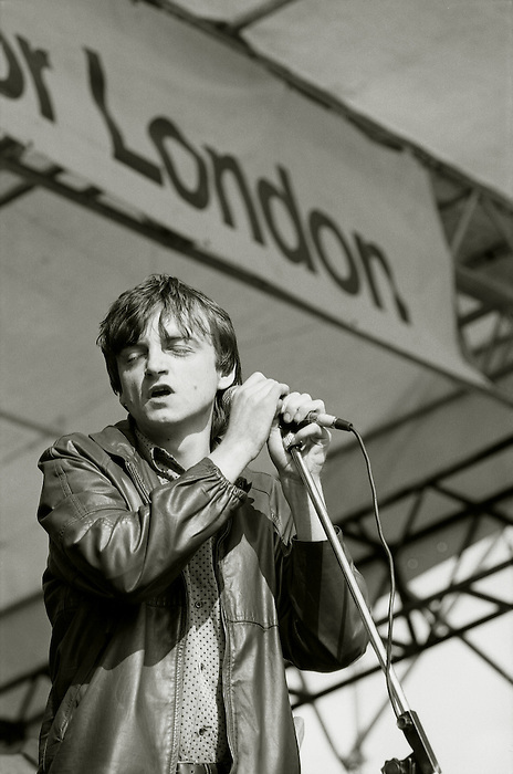 Mark E. Smith. The Fall play the GLC Festival in Brockwell Park, Brixton,London. Saturday June 4 1984.