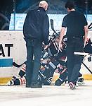 Stockholm 2013-12-28 Ishockey Hockeyallsvenskan Djurg&aring;rdens IF - Almtuna IS :  <br /> Djurg&aring;rden Mattias Guter har skadat sig i inledningen av matchen efter att ha &aring;kt in i sargen och hj&auml;lps upp fr&aring;n  isen av Djurg&aring;rden Joakim Eriksson och Djurg&aring;rden Timmy Pettersson <br /> (Foto: Kenta J&ouml;nsson) Nyckelord:  skada skadan ont sm&auml;rta injury pain