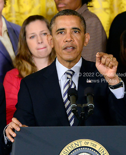 United States President Barack Obama makes remarks as he stands with mothers pushing Congress to act on common-sense legislation to protect children from gun violence in the East Room of the White House in Washington, D.C. on Thursday, March 28, 2013..Credit: Ron Sachs / CNP