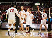 STANFORD, CA - January 17, 2019: Jaylen Jasper, Kyle Dagostino, Paul Bischoff, Eric Beatty, Jordan Ewert, Kyler Presho at Maples Pavilion. The Stanford Cardinal defeated UC Irvine 27-25, 17-25, 25-22, and 27-25.