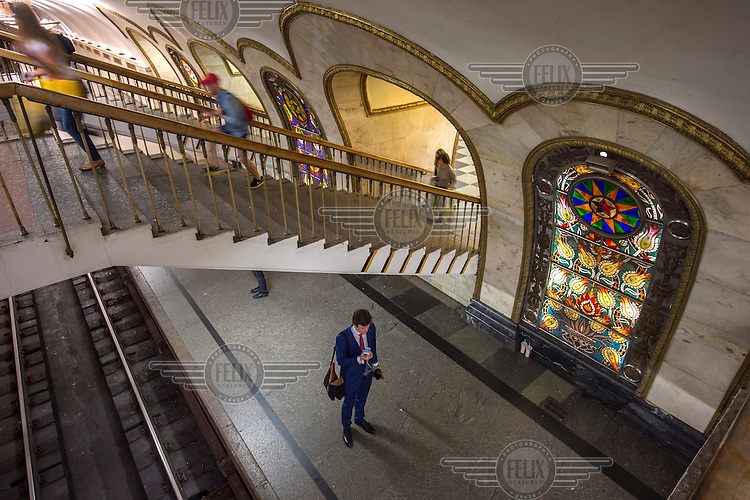 Stained glass panels, some of the 32 at Novoslobodskaya Metro Station which was designed by Pavel Korin.