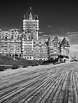 Terrasse Dufferin terrace in front of a famous castle grand hotel in old Quebec city Fairmont Le Château Frontenac. Black and white photo. Quebec, Canada. Terrasse Dufferin, Ville de Québec.