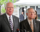 United States Senator Patrick Leahy (Democrat of Vermont), Chairman, U.S. Senate Judiciary Committee, left, and U.S. Senate Majority Leader Harry Reid (Democrat of Nevada), right, make a statement to the press after they met with U.S. President Barack Obama and other bipartisan leaders of the Senate in the Oval Office to discuss the Supreme Court vacancy left by the retirement of Justice Stevens in Washington, D.C. on Wednesday, April 21, 2010. .Credit: Ron Sachs / Pool via CNP