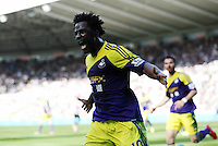Pictured: Wilfried Bony of Swansea celebrating his equaliser. Saturday 19 April 2014<br /> Re: Barclay's Premier League, Newcastle United v Swansea City FC at St James Park, Newcastle, UK.