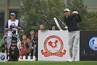 Michael Hoey (NIR) tees off the 10th tee during Saturay's Round 3 of the 2014 BMW Masters held at Lake Malaren, Shanghai, China. 1st November 2014.<br /> Picture: Eoin Clarke www.golffile.ie