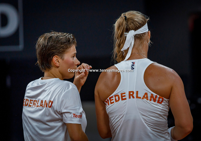 The Hague, The Netherlands, Februari 8, 2020,    Sportcampus, FedCup  Netherlands -  Balarus, Doubles: Bertens/Schuurs (NED)<br /> Photo: Tennisimages/Henk Koster