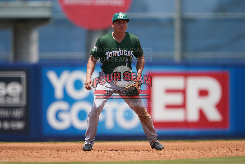 Daytona Tortugas shortstop Bryant Flete (1) during a Florida State League game against the St. Lucie Mets on August 11, 2019 at First Data Field in St. Lucie, Florida.  Daytona defeated St. Lucie 7-4.  (Mike Janes/Four Seam Images)