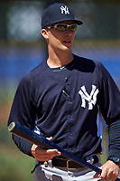 New York Yankees Travis Chapman during practice before a minor league Spring Training game against the Toronto Blue Jays on March 22, 2016 at Englebert Complex in Dunedin, Florida.  (Mike Janes/Four Seam Images)