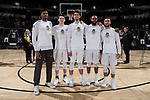 (L-R) Terrence Thompson (20), Britton Anderson (52), Troy Rike (45), Keyshawn Woods (1), and Mitchell Wilbekin (10) were honored on Senior Day prior to the game against the Notre Dame Fighting Irish at the LJVM Coliseum on February 24, 2018 in Winston-Salem, North Carolina.  The Fighting Irish defeated the Demon Deacons 76-71.  (Brian Westerholt/Sports On Film)