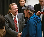 Neil Bush, son of former United States President George H.W. Bush, greets an unidentified visitor as they pay respects to his Dad as he lies in state in the Rotunda of the US Capitol on Monday, December 3, 2018.<br /> Credit: Ron Sachs / CNP<br /> (RESTRICTION: NO New York or New Jersey Newspapers or newspapers within a 75 mile radius of New York City)