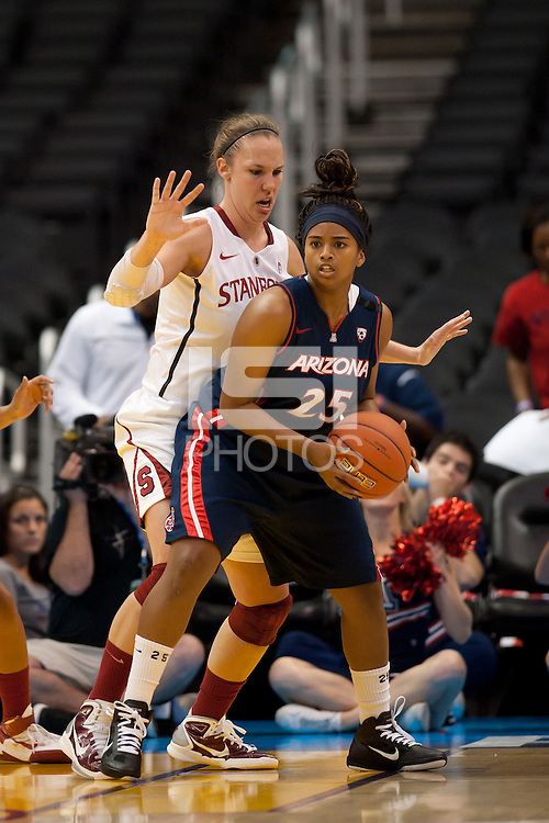 LOS ANGELES, CA - March 11, 2011:  Stanford's Kayla Pedersen during the semi-final game of the 2011 Pac-10 Tournament game against the Arizona Wildcats at Staples Center.  Stanford won, 100-71.