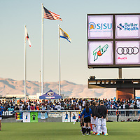 SAN JOSÉ CA - JULY 27: National Anthem during a Major League Soccer (MLS) match between the San Jose Earthquakes and the Colorado Rapids on July 27, 2019 at Avaya Stadium in San José, California.