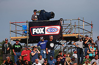 Jun 3, 2016; Epping , NH, USA; A Fox Sports television cameraman films NHRA pro qualifying for the New England Nationals at New England Dragway. Mandatory Credit: Mark J. Rebilas-USA TODAY Sports