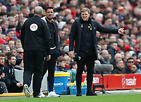 7th March 2020; Anfield, Liverpool, Merseyside, England; English Premier League Football, Liverpool versus AFC Bournemouth; Bournemouth manager Eddie Howe makes a point to the fourth official Mike Dean