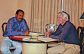 Gene Upshaw, executive director of the National Football League Players' Association (NFLPA), left, and Jack Donlan, executive director of the NFL Management Council, right, meet in Washington, DC on October 9, 1987 to negotiate an end to the NFL players strike.<br /> Credit: Arnie Sachs / CNP