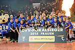 Halle/Westfalen, Germany, March 01: Players of Allianz MTV Stuttgart pose with the trophy following the victory in the Damen Volleyball DVV-Pokalfinale against Ladies in Black Aachen on March 1, 2015 at the Gerry Weber Stadion in Halle/Westfalen, Germany. Final score 2-3 (25-17, 25-20, 19-25, 19-25, 13-15). (Photo by Dirk Markgraf / www.265-images.com) *** Local caption ***