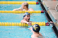 BERKELEY, CA - Feb. 18, 2017: Cal's Jonathan Fiepke (center) after heat 1 of the Men 100 Yard Freestyle. Cal Men's Swimming and Diving competed against Stanford at Spieker Aquatics Complex.
