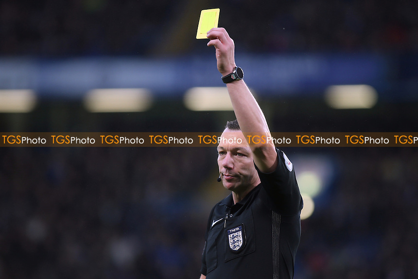 Referee Kevin Friend issues a yellow card during Chelsea vs Peterborough United, Emirates FA Cup Football at Stamford Bridge on 8th January 2017