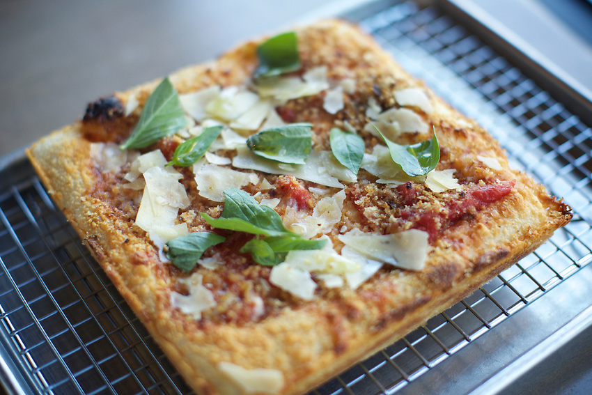 Queens, NY - July 9, 2017:  Detroit-style Square Pizza at Allora Italian Kitchen and Bar in Bayside.<br />