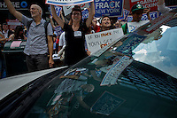 People protest against  Gov. Cuomo's policy summit to over his plan to frack New York and threaten the water and public health in New York, August 2, 2012. Photo by Eduardo Munoz Alvarez / VIEWpress