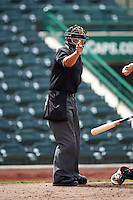 Umpire Luis Hernandez during the second game of a doubleheader between the Great Lakes Loons and Fort Wayne TinCaps on May 11, 2016 at Parkview Field in Fort Wayne, Indiana.  Great Lakes defeated Fort Wayne 5-0.  (Mike Janes/Four Seam Images)