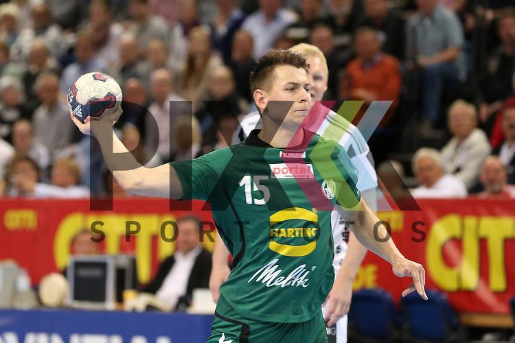 Kiel, 20.05.15, Sport, Handball, DKB Handball Bundesliga, Saison 2014/2015, THW Kiel - GWD Minden : 7 Meter durch Yves Kunkel (GWD Minden, #15)<br /> <br /> Foto &copy; P-I-X.org *** Foto ist honorarpflichtig! *** Auf Anfrage in hoeherer Qualitaet/Aufloesung. Belegexemplar erbeten. Veroeffentlichung ausschliesslich fuer journalistisch-publizistische Zwecke. For editorial use only.