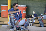 18 August 2012: Brooklyn Cyclones catcher Nelfi Zapata sits at the dugout prior to a game against the Vermont Lake Monsters at Centennial Field in Burlington, Vermont. The Lake Monsters defeated the Cyclones 4-1 in NY Penn League action. Mandatory Credit: Ed Wolfstein Photo