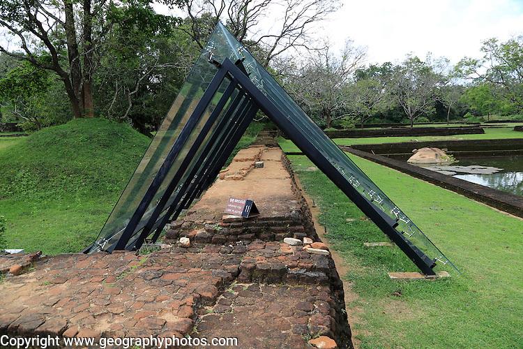 Conservation protection of walls, Water gardens, Sigiriya Rock palace, Central Province, Sri Lanka, Asia