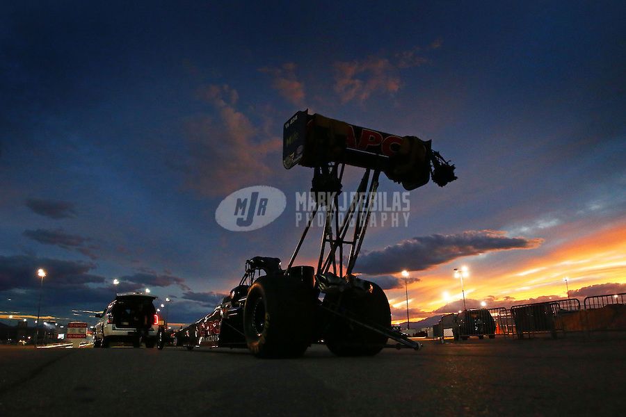 Nov 1, 2014; Las Vegas, NV, USA; The car of NHRA top fuel dragster driver Billy Torrence is towed back to the pits following qualifying for the Toyota Nationals at The Strip at Las Vegas Motor Speedway. Mandatory Credit: Mark J. Rebilas-USA TODAY Sports