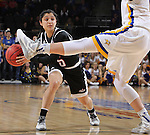 SIOUX FALLS, SD - MARCH 7:  Clarissa Ober #21 of South Dakota State sticks out her leg to block the pass from Amber Vidal #5 of Omaha in the 2016 Summit League Tournament.  (Photo by Dick Carlson/Inertia)