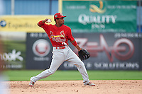 Palm Beach Cardinals shortstop Robelys Reyes (15) throws to first during the first game of a doubleheader against the Dunedin Blue Jays on August 2, 2015 at Florida Auto Exchange Stadium in Dunedin, Florida.  Palm Beach defeated Dunedin 4-1.  (Mike Janes/Four Seam Images)