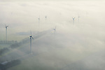 Nederland, Flevoland, Lelystad, 11-12-2013; Vogelweg, windmolens en boerderijen in de mist, omgeving Vliegveld Lelystad.<br /> Windmills and farms in the fog, environment of Lelystad Airport.<br /> luchtfoto (toeslag op standaard tarieven);<br /> aerial photo (additional fee required);<br /> copyright foto/photo Siebe Swart.
