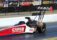 Jul. 26, 2014; Sonoma, CA, USA; NHRA top fuel driver Steve Torrence during qualifying for the Sonoma Nationals at Sonoma Raceway. Mandatory Credit: Mark J. Rebilas-