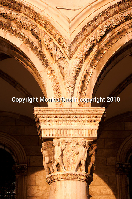 Detail of a column capital of the Rector's Palace in Dubrovnik, Croatia.