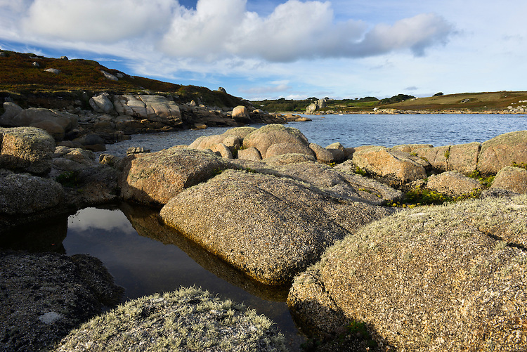 Rocky shoreline on the south of St Mary's close to Peninnis, Isles of Scilly, UK
