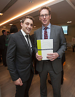 ***NO FEE PIC ***<br /> 23/04/2015<br /> (L to r) Eamonn O' Connor IMDO Cullen Fellow &amp; David O Connor Dillon Eustace <br /> during the  launch by the Irish Maritime Development Office (IMDO) of its Irish Maritime Transport Economist report at the Morrison Hotel , Dublin.<br /> Photo:  Gareth Chaney Collins
