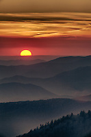 A High Dynamic Range (HDR) image of a sunset at Kilingman's DOme in the Great Smoky Mountains, North Carolina