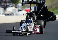 Jul, 21, 2012; Morrison, CO, USA: NHRA top fuel dragster driver Shawn Langdon during qualifying for the Mile High Nationals at Bandimere Speedway. Mandatory Credit: Mark J. Rebilas-