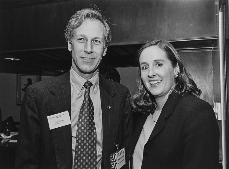 Sen. Virgil Goode, D-Va., and Lucy Goode at Democratic Congressional Campaign Committee reception at the Democratic National Committee on Nov. 25, 1996. (Photo by Laura Patterson/CQ Roll Call via Getty Images)
